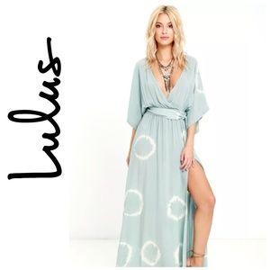Long Live Love Lulu's Sage Tie Dye Maxi Dress